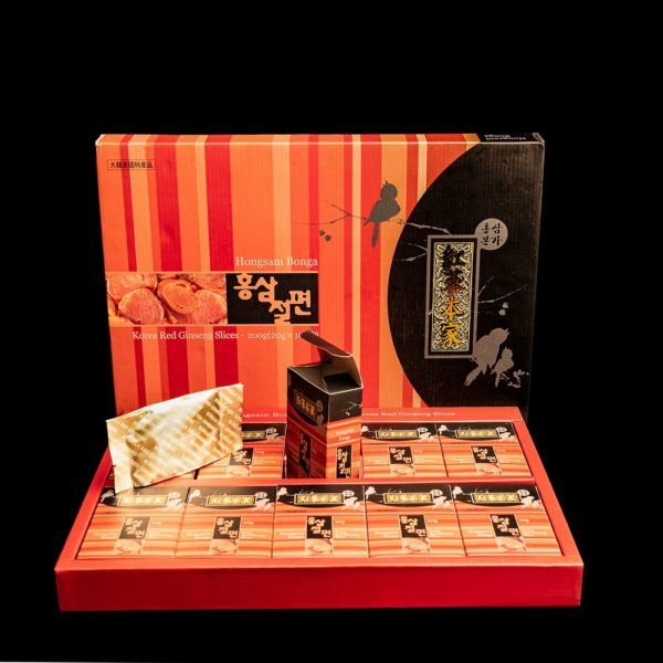 изображение упаковок цукатов медовых из красного корейского женьшеня старше 4-5 лет, слайсы, 20 гр. GOLD PREMIUM