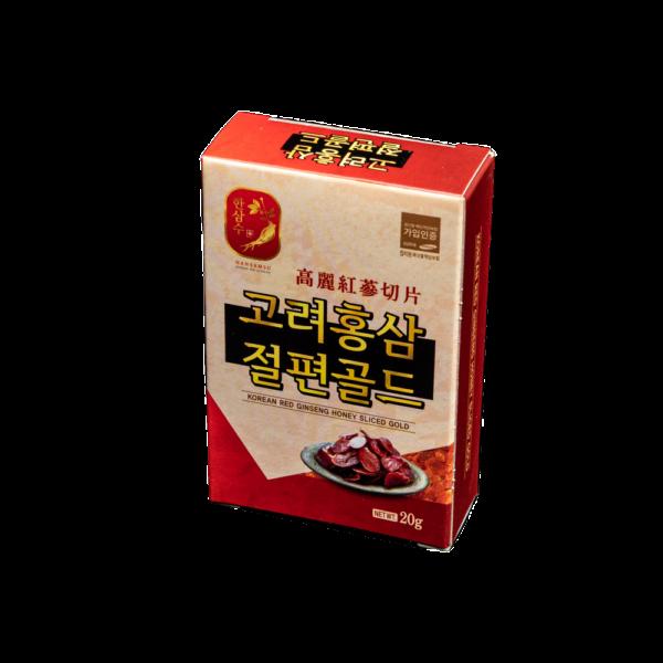 медовый цукаты из красного корейского женьшеня, слайсы, 20 гр. GOLD