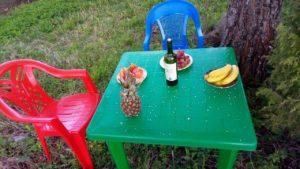 вино и фрукты подо льдом из небесного града