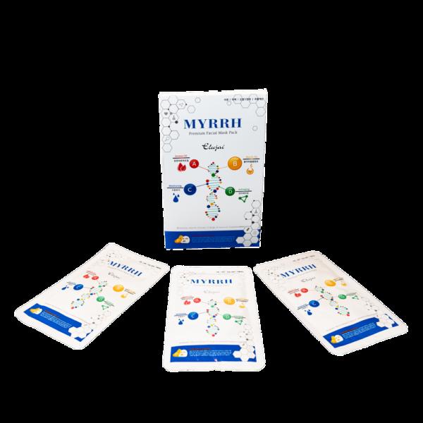 изображение упаковки с 10 масками Myrrh премиум класса